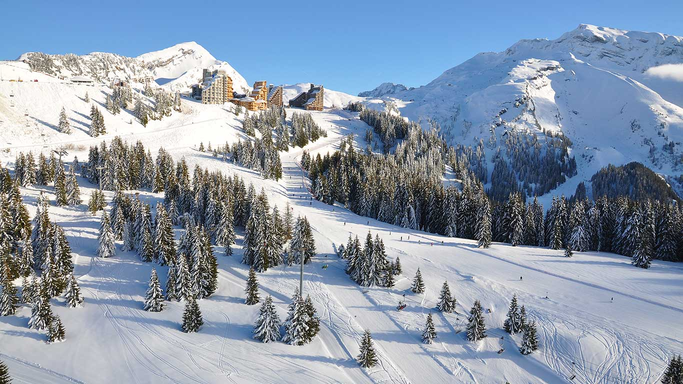 On piste runs at Avoriaz